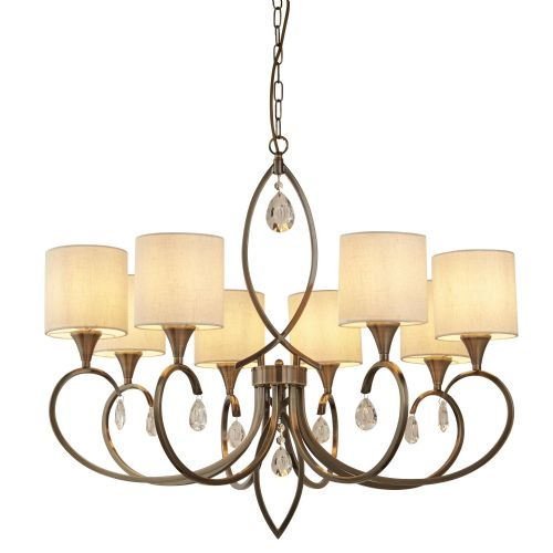 Alberto 8 Light Pendant, Antique Brass, Linen Shades 1608-8Ab